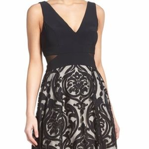 Xscape Dresses - Black with nude underlay dress